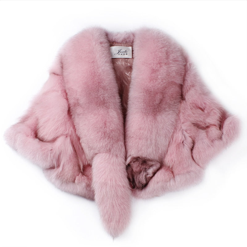 REAL Fox Fur Coat Short female 2020 Winter New Fur Shawl Jacket