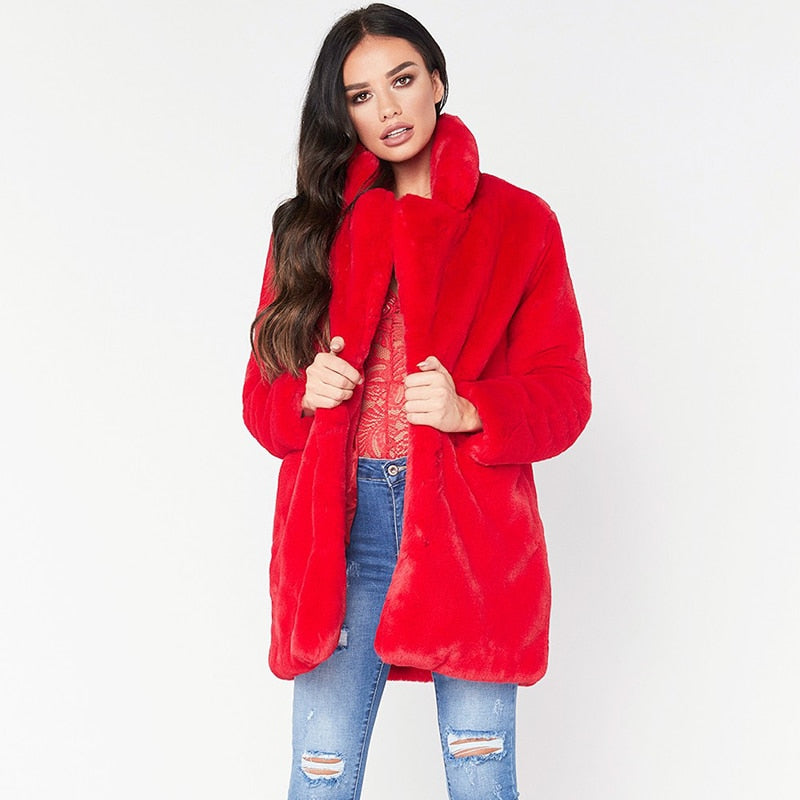 T-BOO long women's faux fur coat hot sale casual  solid loose soft rabbit fur outwear for female 7 color to choose