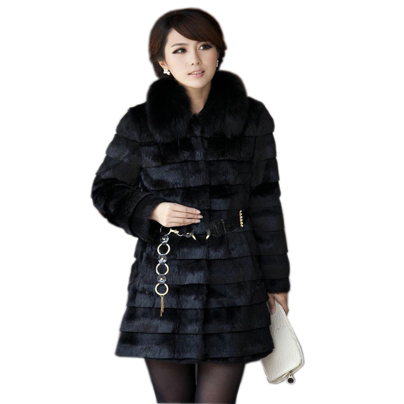 2019 new genuine rabbit fur coat with fox fur collar women rabbit fur jacket winter fur waistcoats custom big size