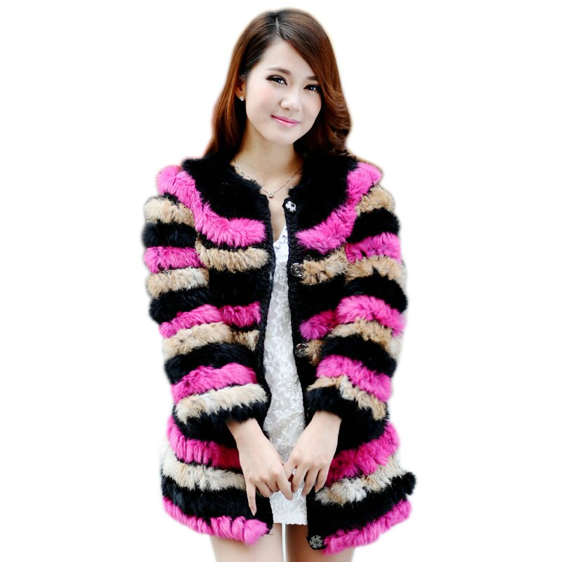 Women Rabbit Fur Coat small knitted rabbit fur women's fur coat medium-long o-neck
