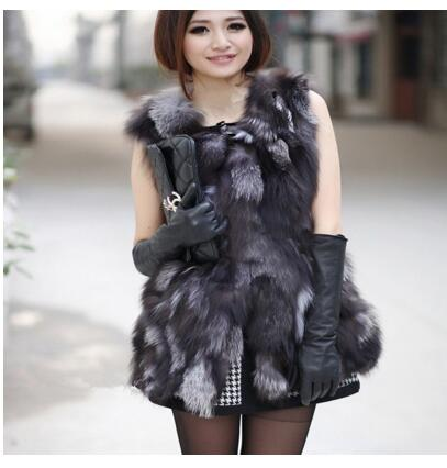 Lady Genuine Real Fox Fur Vest Waistcoat Winter Women Fur Outerwear Coats Jacket