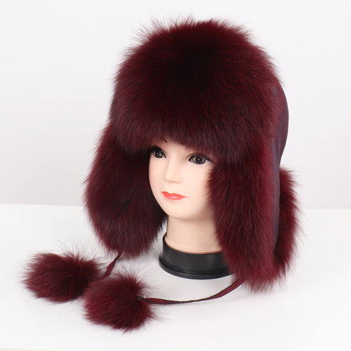 2019 Hot Sale Women Natural Fox Fur Russian Ushanka Hats Winter Thick Warm Ears Fashion Bomber Hat Lady Genuine Real Fox Fur Cap