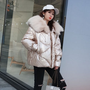 Women's 2019 Winter Jacket Natural Fox Fur Collar Short Thick Duck Down Coat Jacket