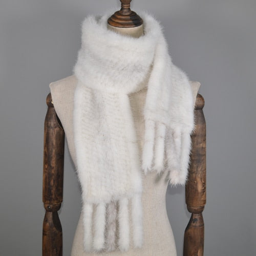 Women Genuine Real Mink Fur Long Style Scarf  Warm Soft Handmade Quality Knitted Real Mink Fur Scarves Shawl