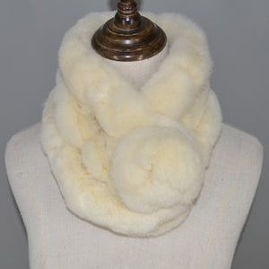 2019 Real Rex Rabbit Fur Scarf Natural Rabbit Scarf With Ball Pele Scarves Rabbit Fur Rings