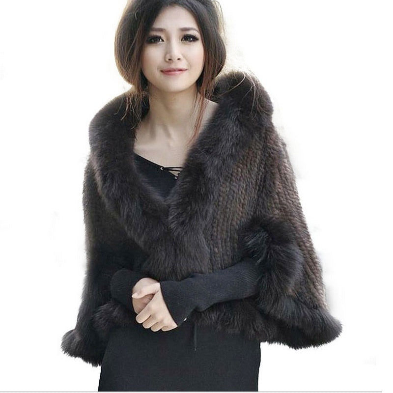 New Genuine Knit Mink Fur Shawl Poncho With Fox Trimming Real Mink Fur Jacket Fashion