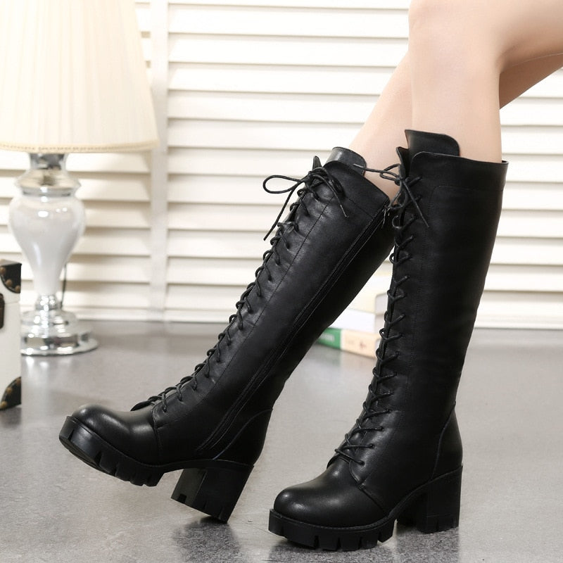 Genuine Leather Knee High Boots Casual Shoes for Women Block Low Heel leather Boots Winter 2019