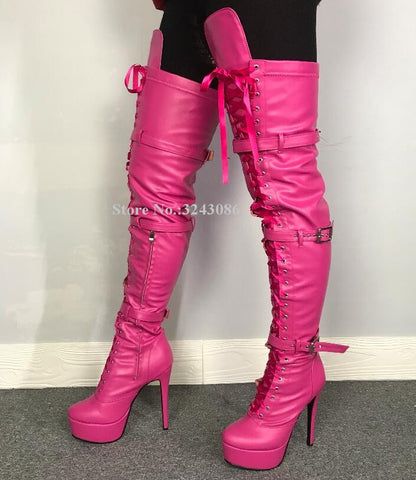 Luxury Rhinestone Studded Woman Sexy Over the Knee Booties Lace Up Stiletto High Heels