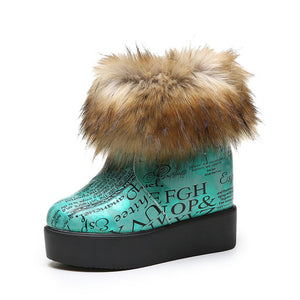 Fashion Women Winter Snow Boots Suede Faux Fur Female Waterproof Snow Boots Slip-on Shoes Woman