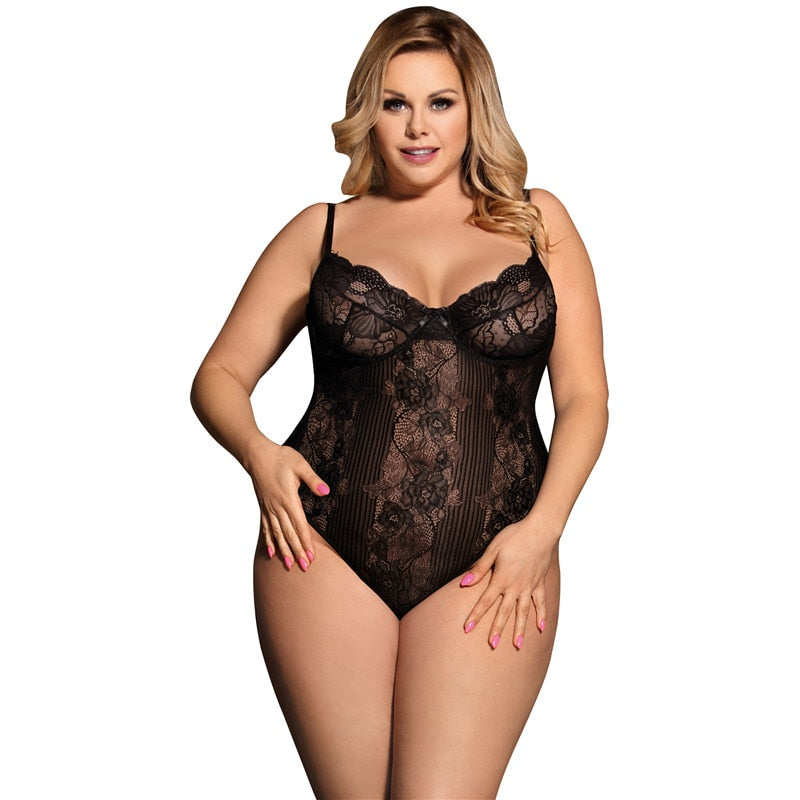 Plus Size Lace Bodysuit M XL 3XL 5XL  Womens Rompers Jumpsuit Femme Sexy See Floral Sheer