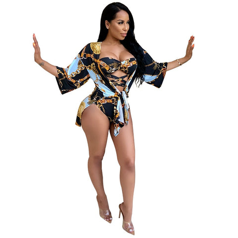 Two-Piece Sexy Swimsuit Set Printed Bandage Cardigan + Bikini Bodysuit Suit Summer Beach Swim Pool Playsuits