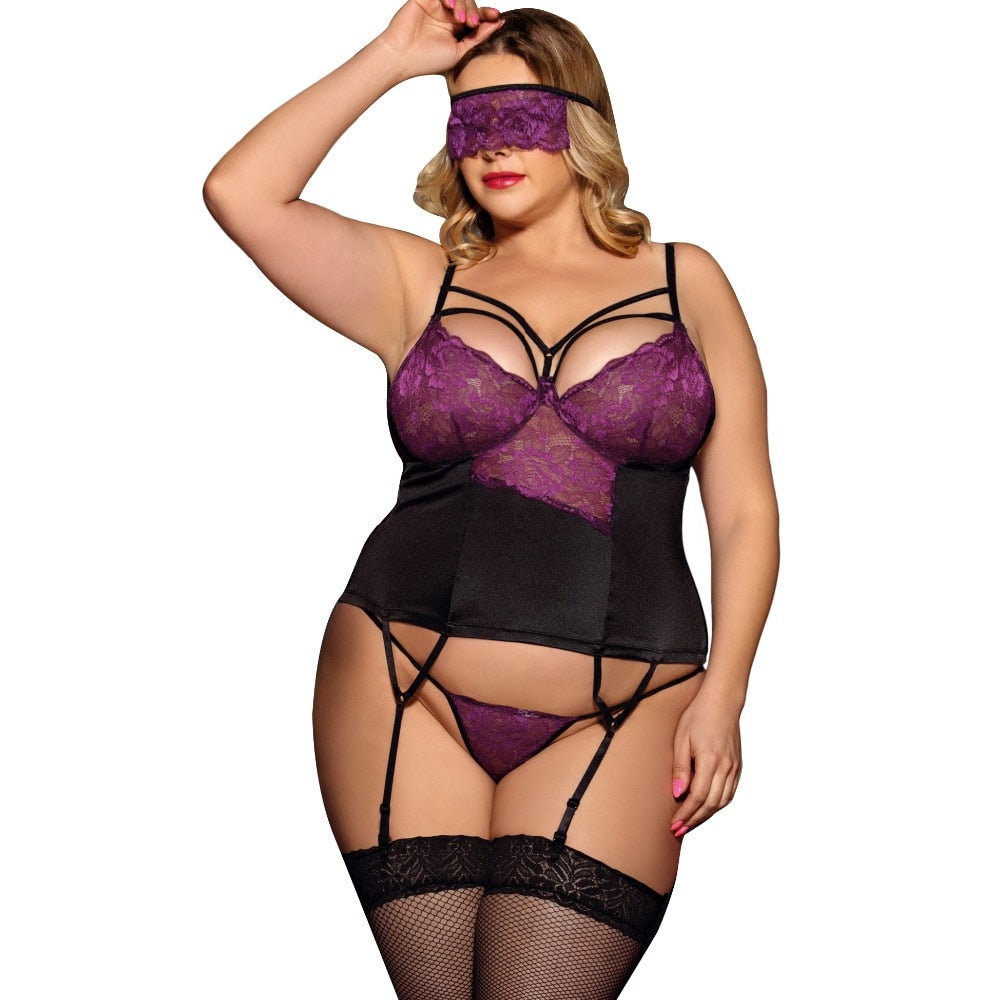 Women Sexy Porn Lingerie 3PCS With Eyepatch Plus Size 5XL Hot Sexy Lingerie Set