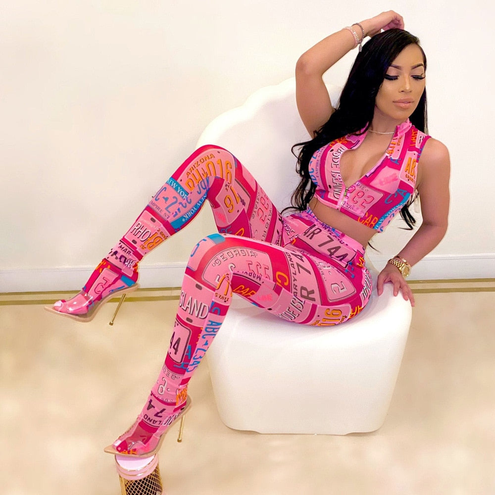 Hot Pink Tracksuit Women 2 Piece Set 2020 Sleeveless Zipper Crop Top and Skinny Long Pants Club Outfit Casual Streetwear