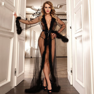 Plus Size Long Robe Sheer Sexy Lingerie Women Transparent Dessous Sexy Hot Erotic Underwear With Fur