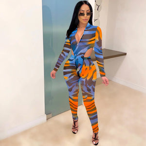 Sexy Hot Colorful Bodysuit with transparent pant set Letter Print Set  Deep V-Neck 2 Piece Outfits Long Sleeve Bodysuit and Pants set