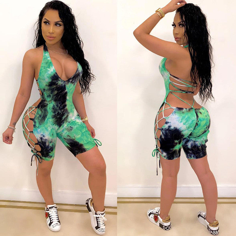 2020 tie dye halter backless bandage sexy summer playsuit women fashion body romper