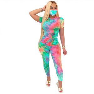 2020 Women Tie-Dye Galaxy print with Mask Tracksuits 3 Pieces legging Pants  Sets Tee Tops  Fitness Outfits Matching Set