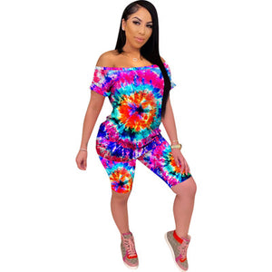 Summer Tie-Dye Print Women Two Pieces Set Tracksuits Short Sleeve Tops + Shorts Outfits