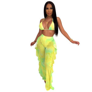 Summer tie dye print  2020 new women halter v-neck top ruffles splicing pants suit two piece set