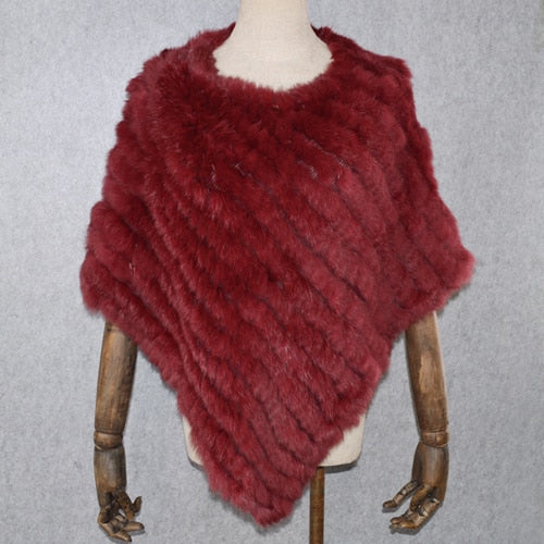 Women Real Rabbit Fur Shawl 2020 Hot Sale Natural Real Knitted Real Rabbit Fur Poncho Scarf Winter Rabbit Fur Pashmina