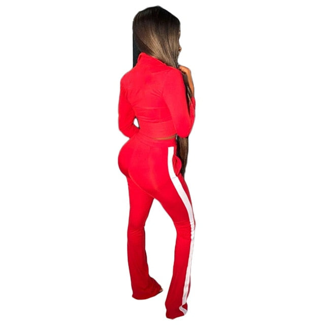 Women Two PieceJogging Set Tracksuit Crop Top And Pants Sweat Suit Lounge Wear Outfits 2 Pcs Matching Sets