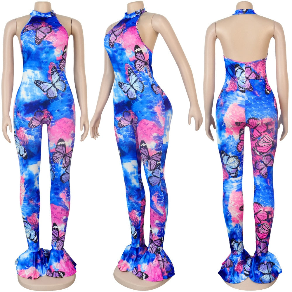 Sexy Halter Butterfly Print Flare Pants fashion Jumpsuit Women Tracksuit Rompers