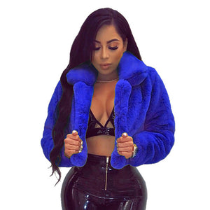Women Sexy Faux Fur Coats Jackets Fluffy Fur Cropped Jacket Open Stitch coat 6 Colors Plus Size
