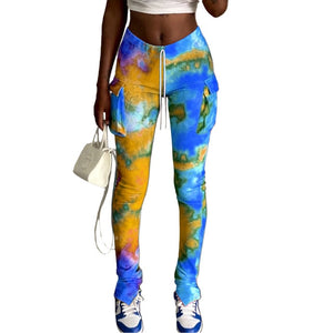 Tie-Dye Print Sports Flare Pants With Pocket Stacked Draped Jogger Sweatpants