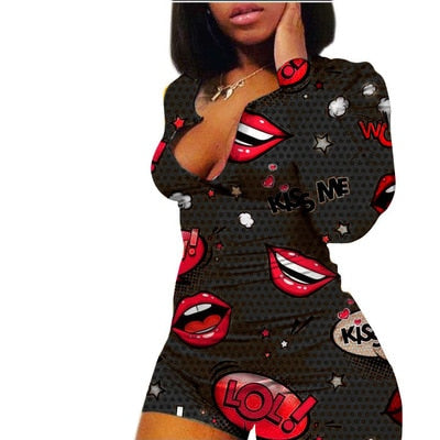 Sexy Onesies Jumpsuit Bodycon lips Print Sleepwear long Sleeve V Neck Sexy Bodycon Bodysuit Rompers