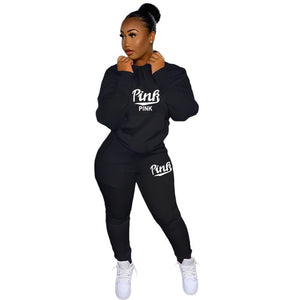 Pink Letter Women Activewear Set Sweatshirt Jogger Pants Sporty Tracksuit Fitness Two Piece Set Outfits