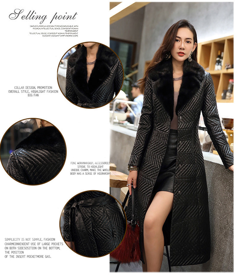 2020 Women Natural Real Sheepskin Leather Coat Extra long With Real Mink Fur Collar 100% Real Genuine Sheepskin Leather