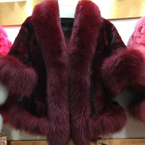New Women Fashion Real Mink Fur Short Poncho Coat With Real Fox Collar 100% Real Natural Mink Fur And Fox Fur Shawl Overcoat