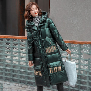 Women Long Winter Coat with Hood Women's Parkas Shiny Female Coat Plus Size Hooded Stand Collar With Zipper