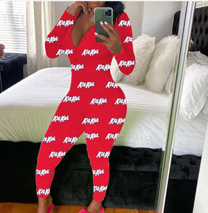 Sexy Winter Women Onesies Ladies  Long Sleeve V-neck Bodycon cartoon pattern Bodysuit Pajamas Romper Jumpsuit Nightwear