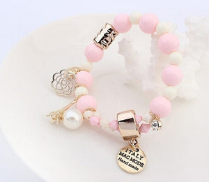 New Arrival Fashion Wrap Cuff Charms Crystal simulated Pearl Beads Hearts Elastic Force Bracelet