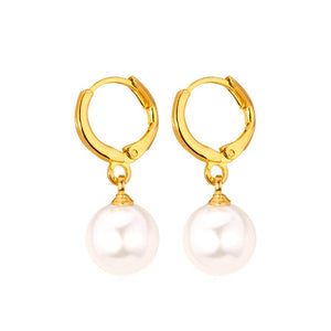 Earrings Silver/Gold Color White Simulated Pearl Water Drop Earrings For Women