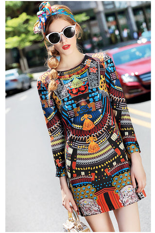 Women's High Quality Designer Long Sleeve Abstract Vintage Dress Ethnic Tribal Printed Mini Dress