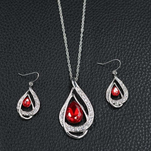 Women Red Crystal Bridal Jewelry Sets Water Drop Shape Pendant Necklace Earrings Set Wedding Accessories