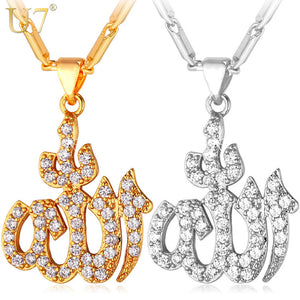 Islamic Allah Pendant Necklace For Women Silver/Gold Color Cubic Zirconia Necklace Religious Muslim Jewelry Wholesale P612