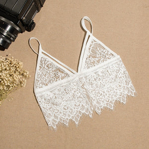 Lace Bra Top Wireless Cups Brassiere Sexy Fashion Eyelash Bralette Cute Crop Top bra Underwear Intimate Tops