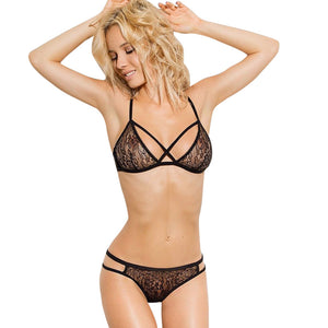 Lace Bra Sets Women Floral Lace Bandage Lingerie Corset Push Up Bra+Pants Underwear Set Ultra-thin Transparent