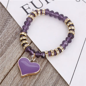 Romantic Vintage Bracelets For Women Heart Pendant Bracelets with crystal Shambhala Beads Fit Pan Bracelets Jewelry