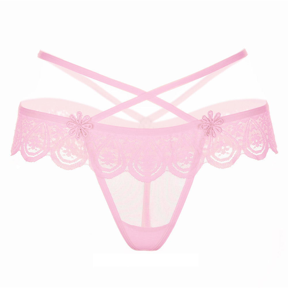 Women Sexy Lace Low-Waist Hollow Underwear Women Thongs Panties G String BK