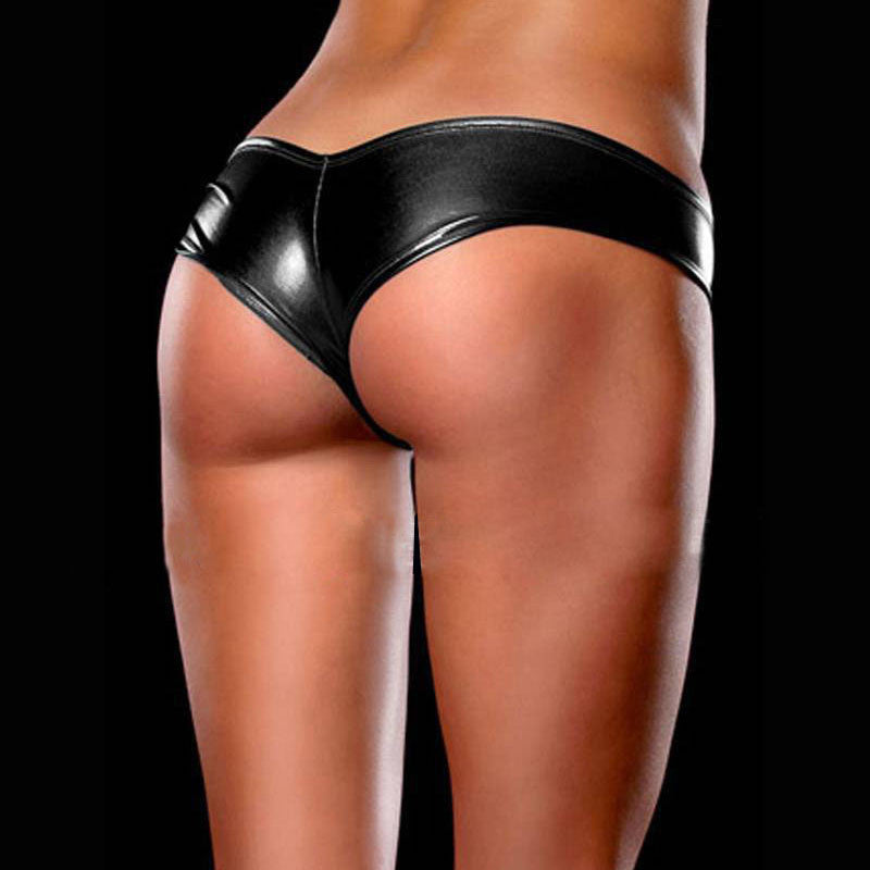 Women Sexy Gold Lingerie Ladies Glossy Leather Underwear