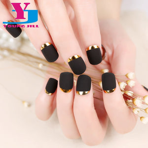 New Arrival Fashion Matte False Nail Art Tips Metallic French Hot Design Fake Nail Tips 24pcs/Set  Full Cover  Short Nail Tips