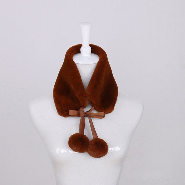 T-BOO Winter Neck Scarves faux rabbit fur scarf collar 2019 women fashion warm thick scarf