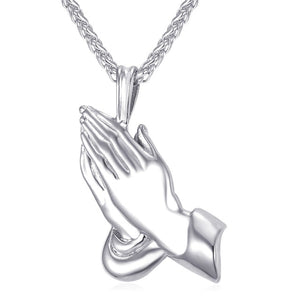 The Praying Hands Pendants & Necklaces Brother Gift Black/Gold Color Stainless Steel Hip Hop Men Chain Jewelry