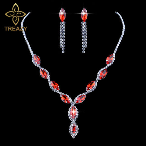 Luxury Elegant Bridal Jewelry Sets Crystal Necklace and Earrings Red Color Set for Women Wedding Club Party Accessories Gift