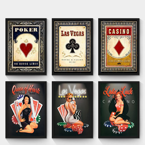 Personality Retro Oil Painting Poker and Sex Girl Canvas Painting Las Vegas Poster and Prints Wall Pictures No Frame