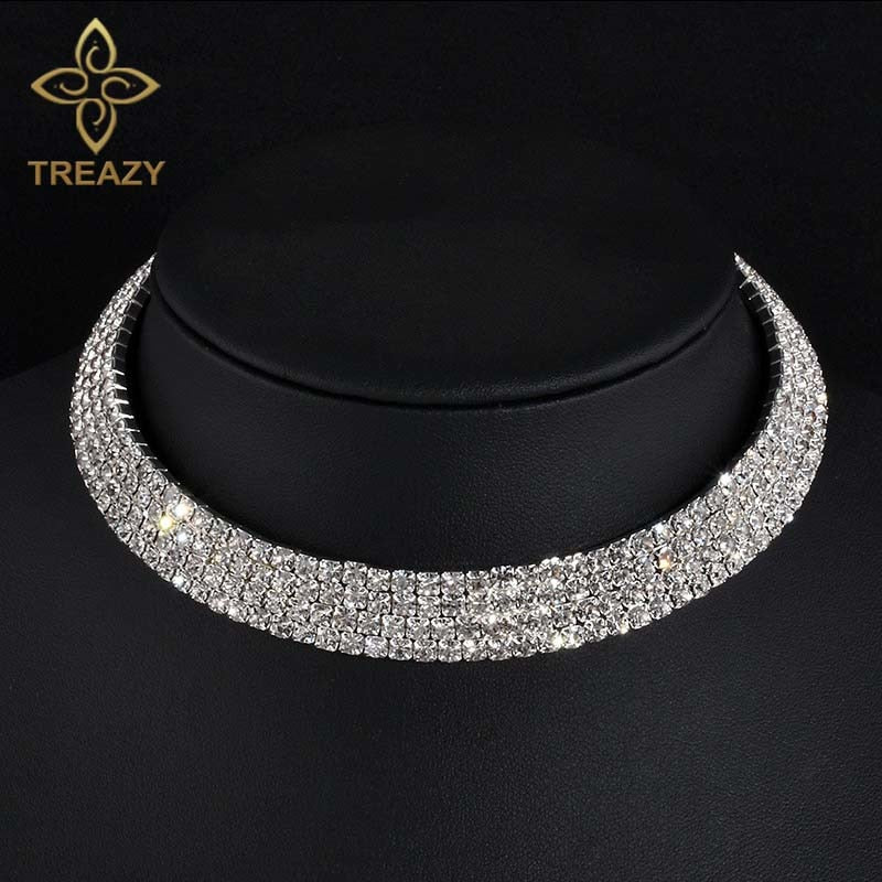 Women Sparkling Silver Crystal Necklace Bridal Party Choker Rhinestone Choker Gifts, Jewelry
